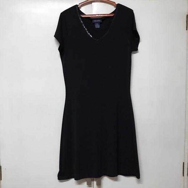 Black Dress with Sequined Neckline (Korea)