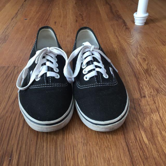 Black Vans, Size:6.5