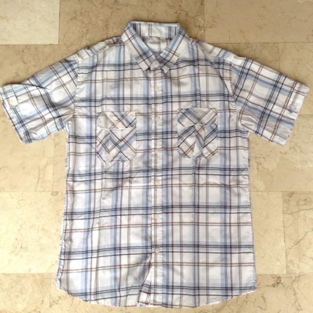 Blue & Brown Checkered Button Down Short Sleeves Polo for Men