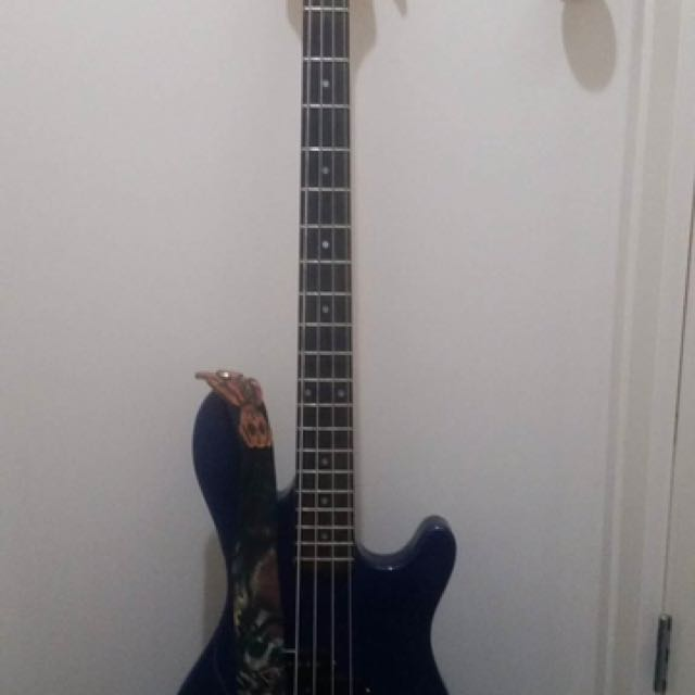 Blue Bass Guitar With Amp