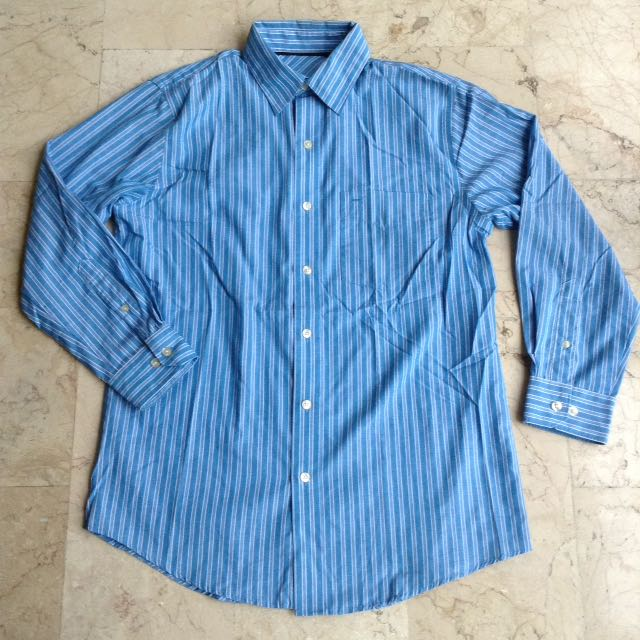 Blue Stripes Button Down Long Sleeves Polo for Men