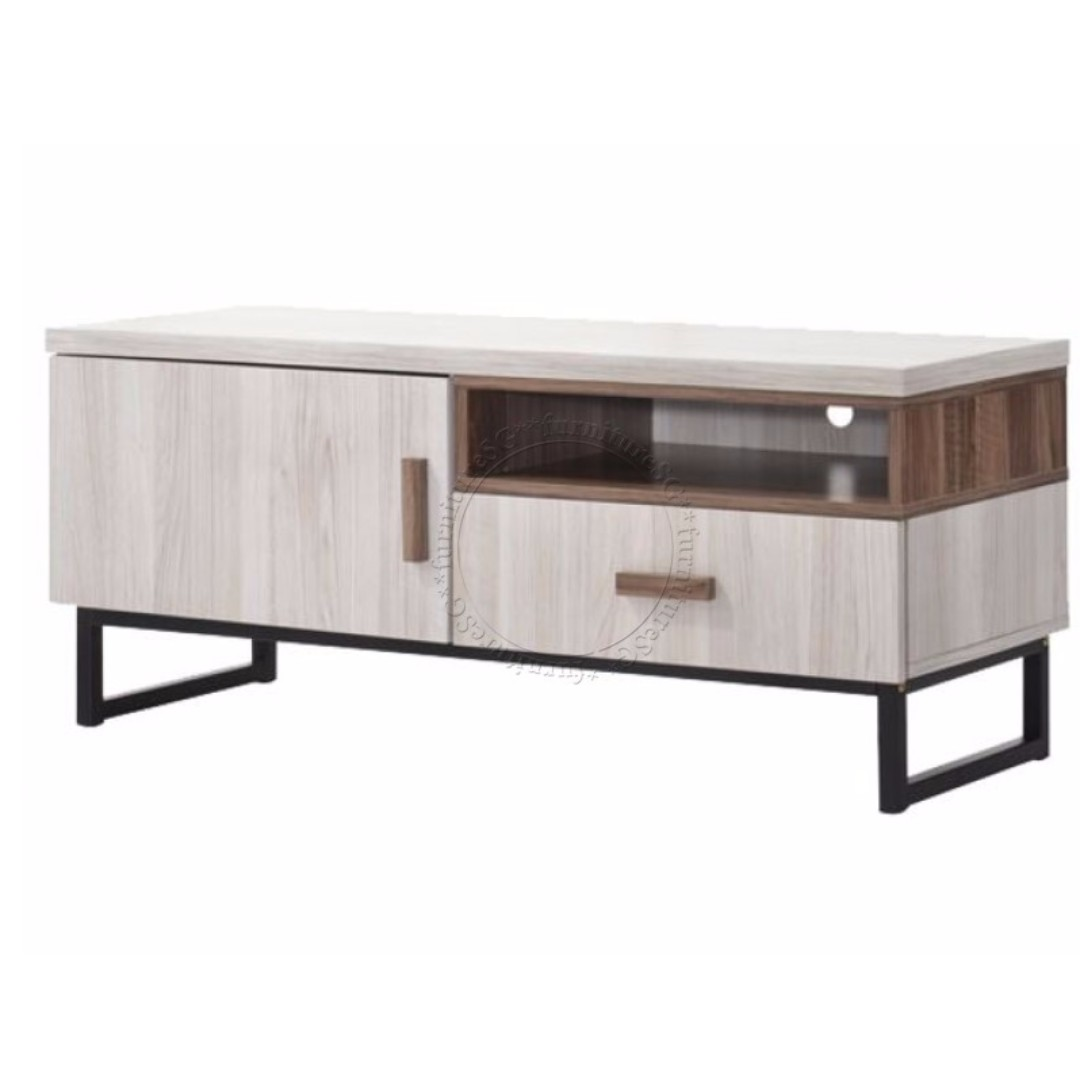Bn Tv Cabinet Console With Metal Legs Furniture Shelves Drawers