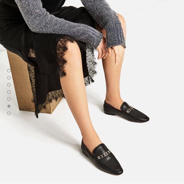 97b8cb7c163 BN Zara Leather Loafers Size 38