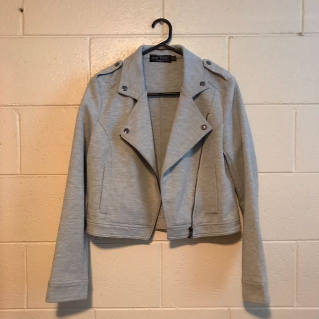 BNWOT: Evil Twin Light Grey Cropped Biker Jacket With Zip Detailing Size XS