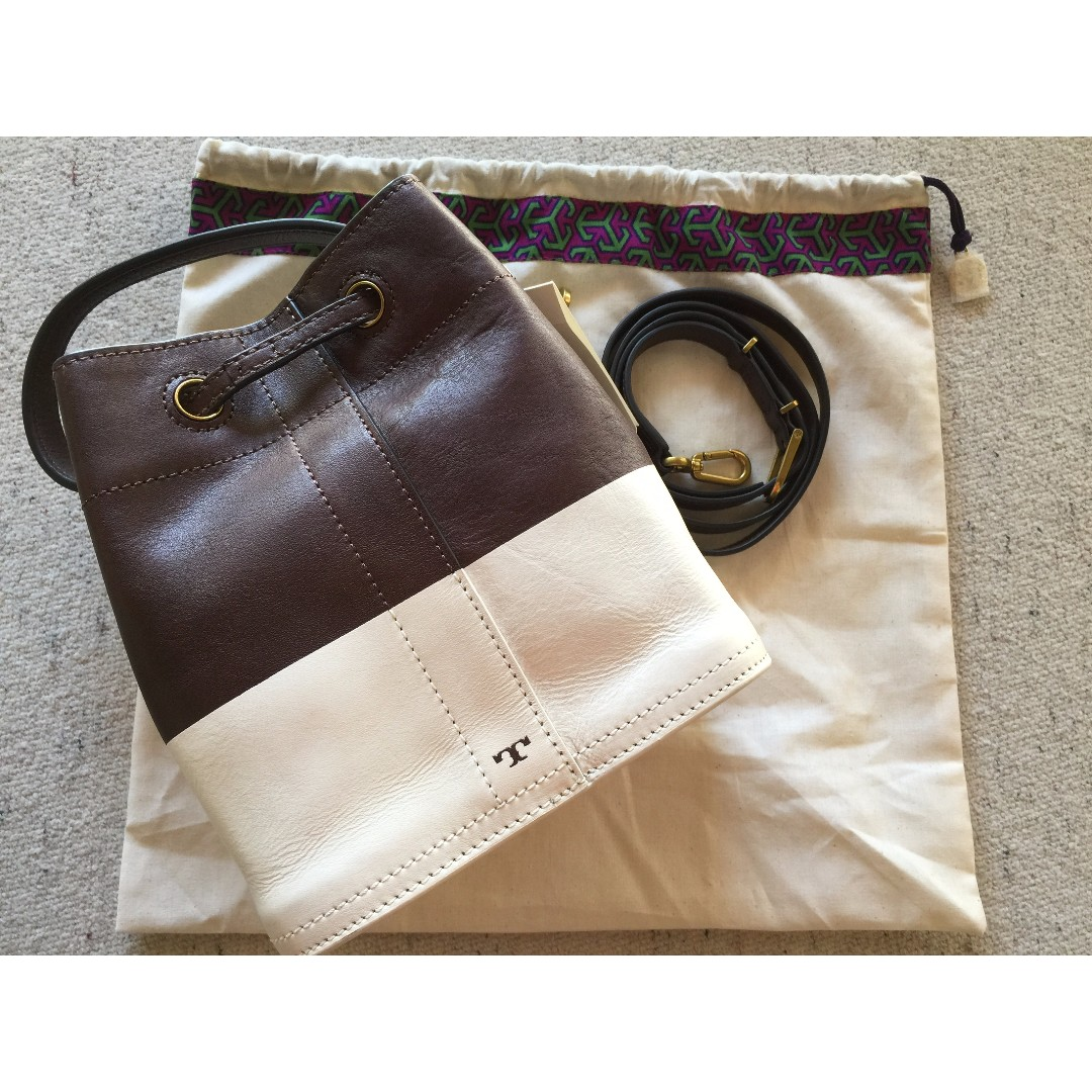 954960cbe60 SALE] BNWT Tory Burch 'Mini' Colourblock Leather Bucket Bag (Brown ...