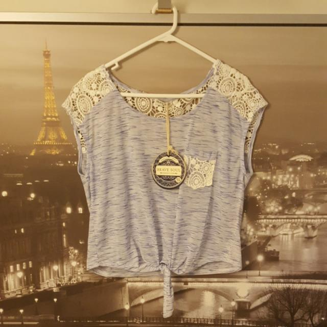 Brave Soul Blue Lace T-Shirt   Size M