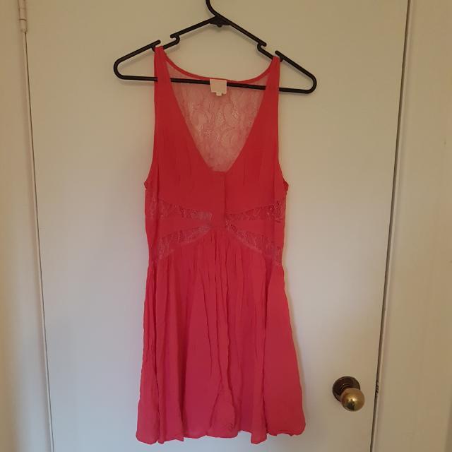 Collar Lace Insert Dress