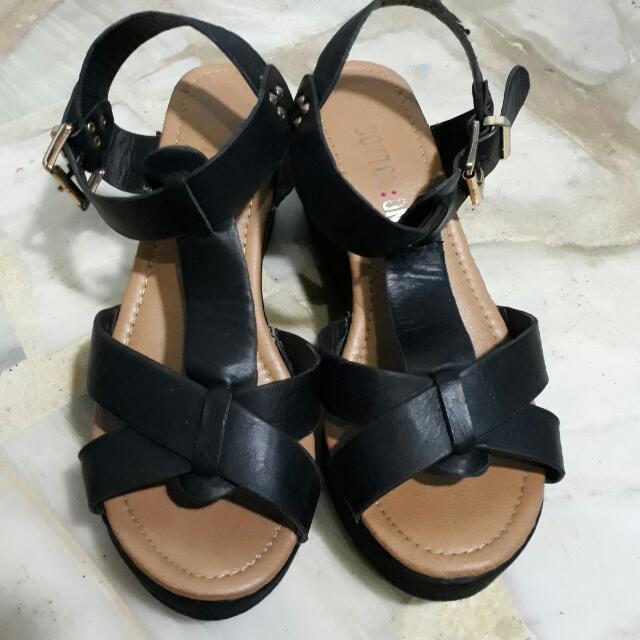 Cotton On Black Wedge Sandals