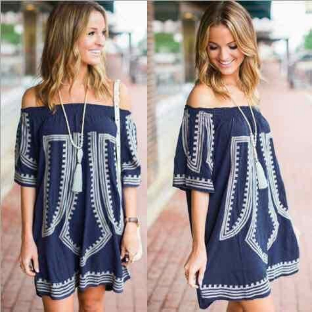 Ethnic Off Shoulder Dress/Bathing Suits Cover Up