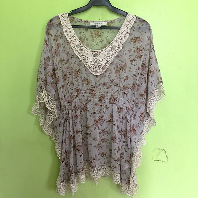 F21 Floral + Lace Sheer top (perfect with white shorts, jeans or as a Beach Cover Up)