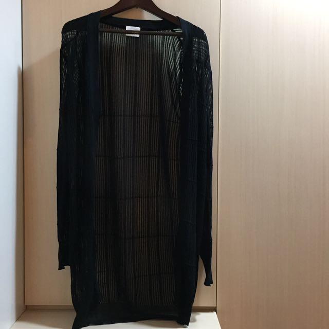 竹節黑色長版罩衫F Size