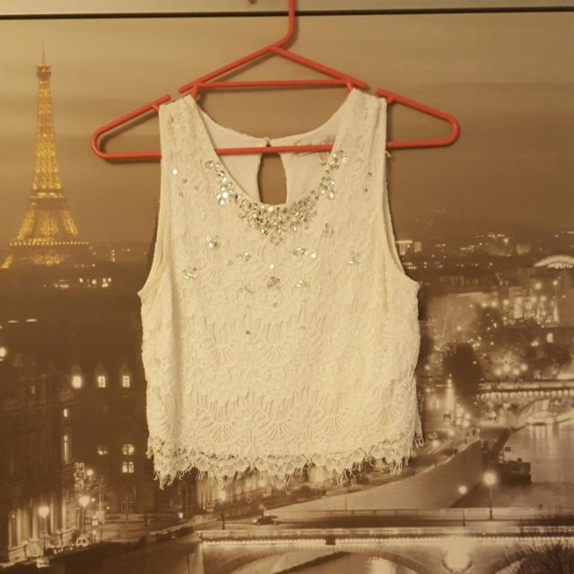 Forever New White Lace Detailed Crop Top   Size 8