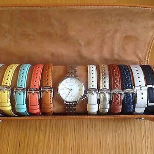 Fossil Ladies Jacqueline Three Hand Silver/Leather Watch Set