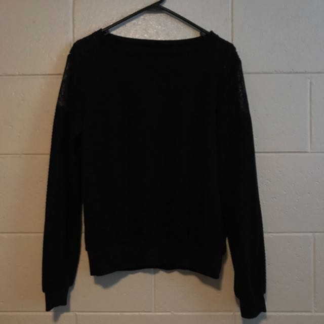 French Connection Black Long Sleeve Jumper Sweater With Lace Detailing, Size Small