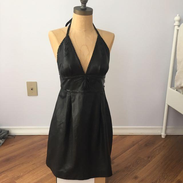 Genuine Leather Dress , Size: S