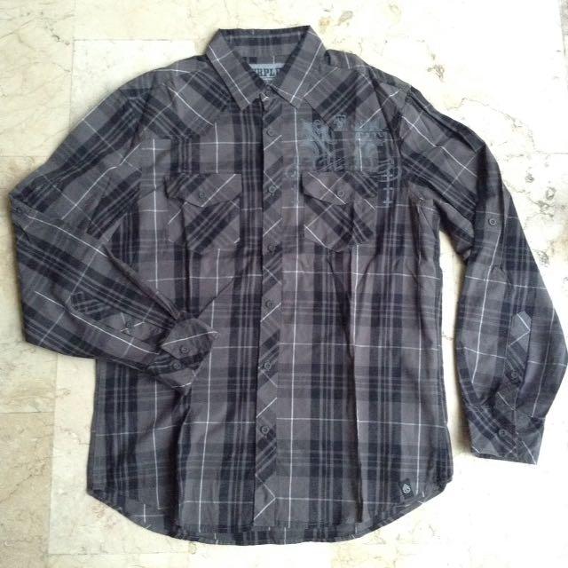 Gray & Black Button Down Checkered Long Sleeves Polo for Men