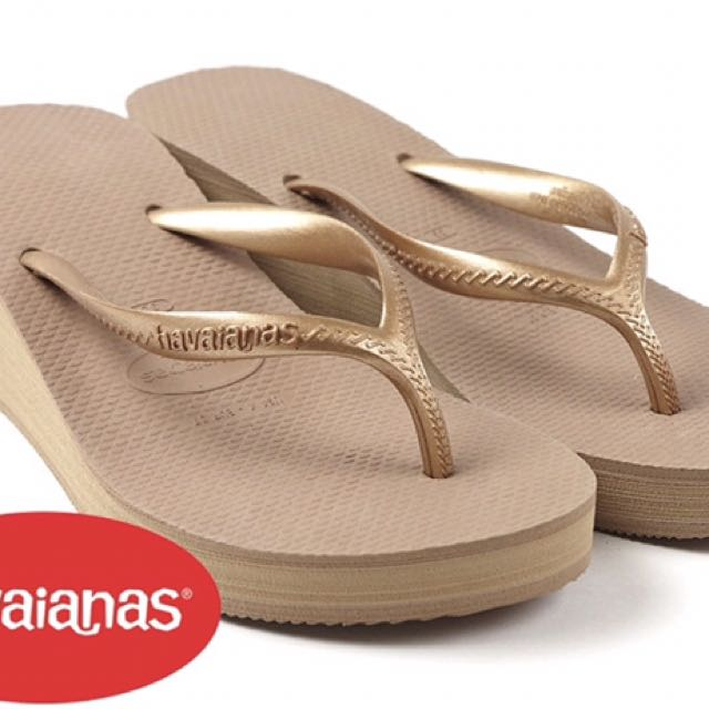 be6d9b7dfa72 Havaianas Women`s Flip Flops High Fashion Rose Gold Wedge Sandal ...