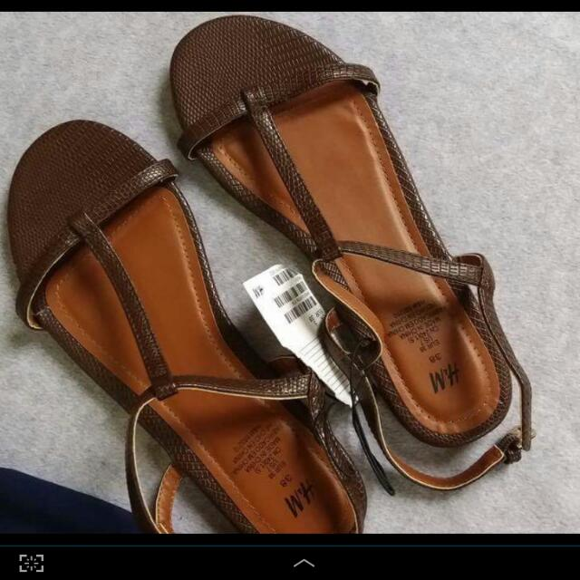 H&M Brown Faux Leather Sandals