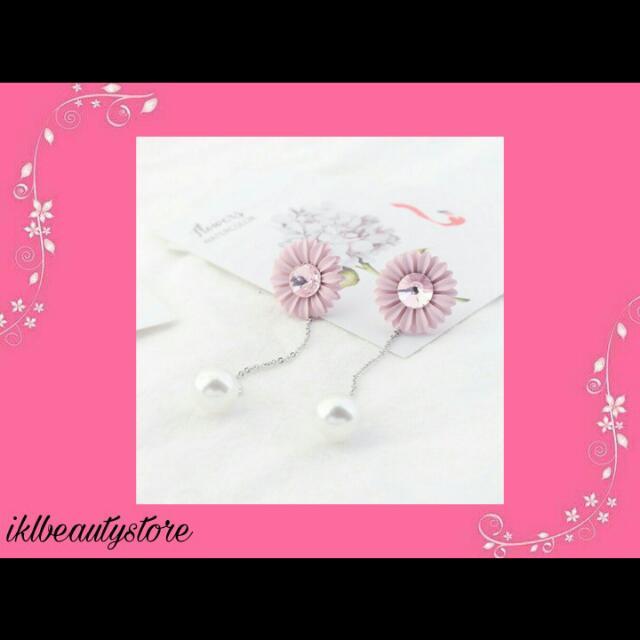 Anting Long Tassel Pink Flower Pearl