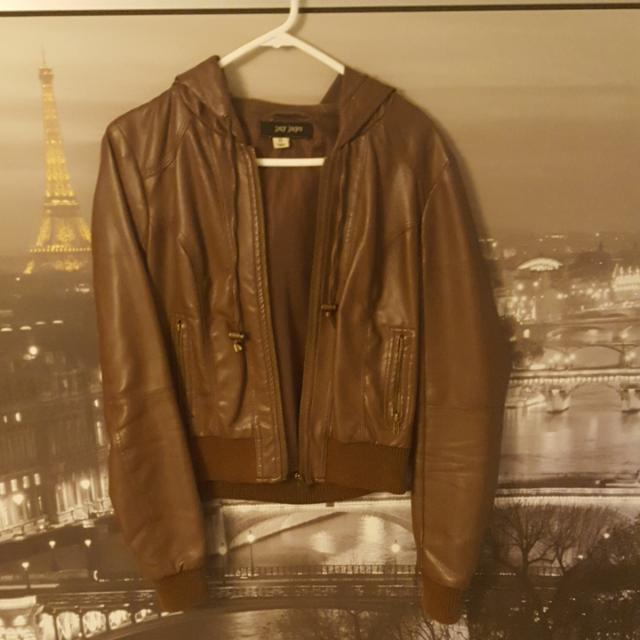 Jay Jays Brown PU Leather Hooded Bomber Jacket   Size 8