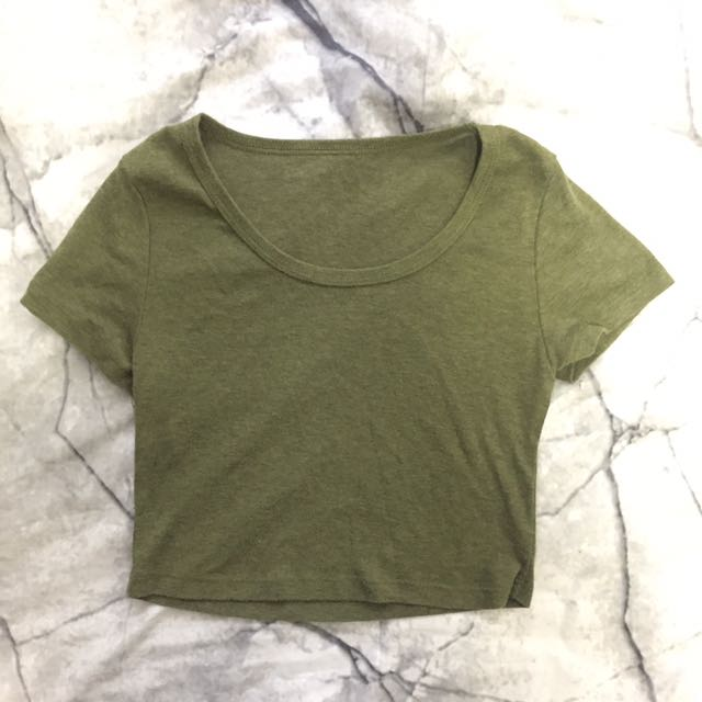 Khaki green Crop Shirt