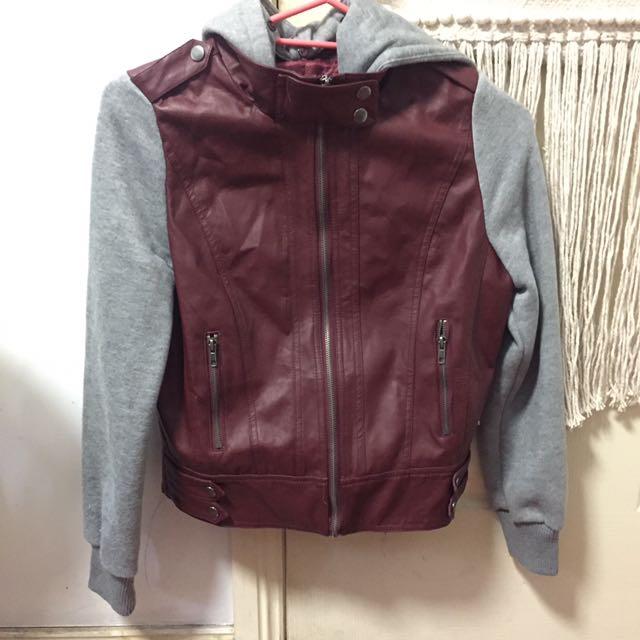 Maroon Leather Hoodie Jacket, Grey Sleeves
