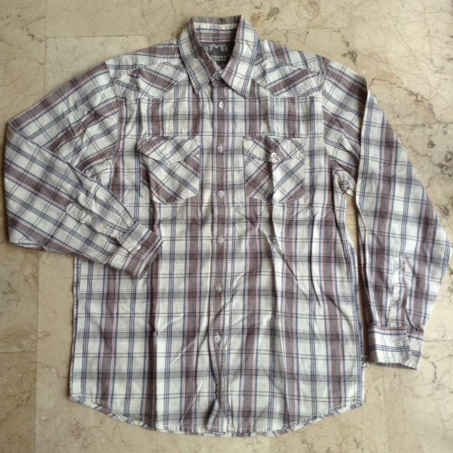 Modern Culture Button Down Checkered Long Sleeves Polo for Men