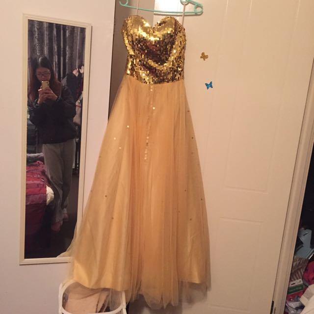NEW Tulle Gold Ballgown Formal Dress