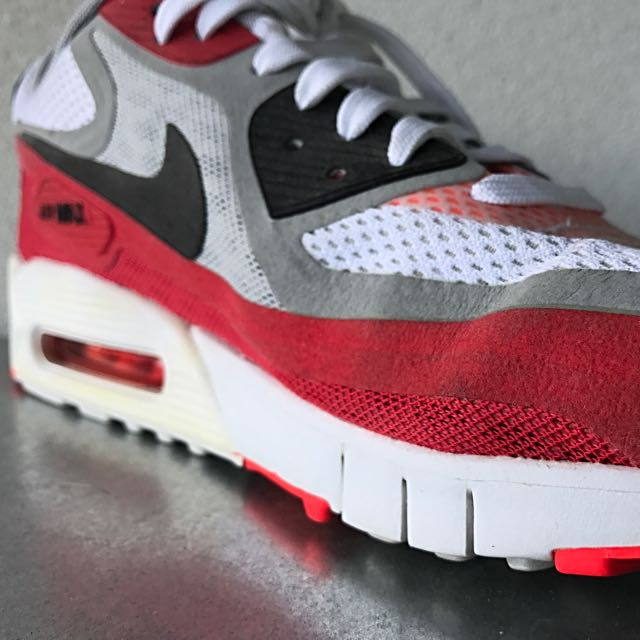 Nike Air Max 90 BR, White/Black/Wolf Grey/University Red
