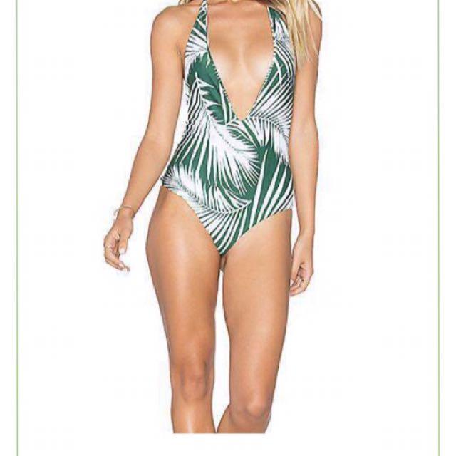 One Piece Halter Green Leafy Swimsuit