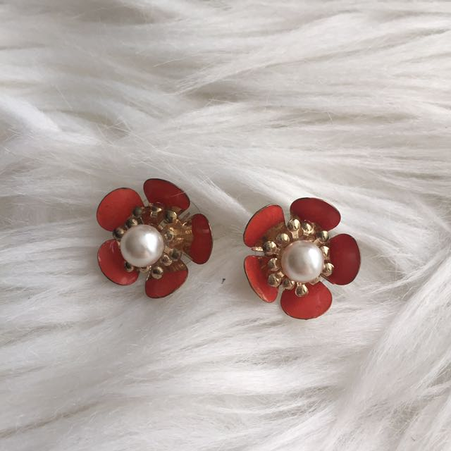 Orange Flower Earring