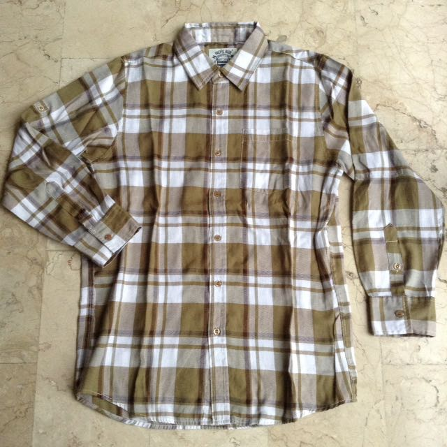 Pacific Blue Button Down Checkered Long Sleeves Polo