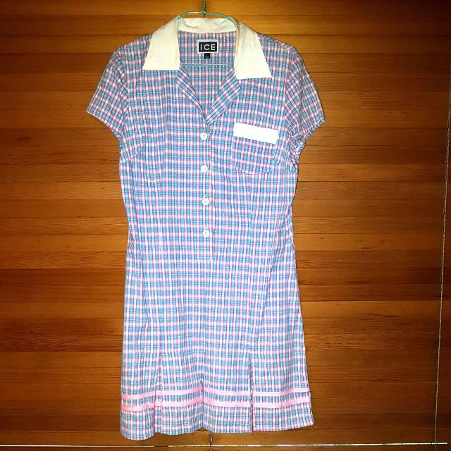 Pink/white/blue Ice Dress Size L (Makeup Stain On Collar)