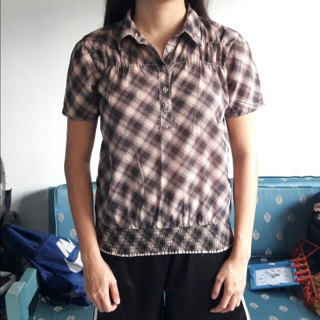MSE Plaid Blouse Top