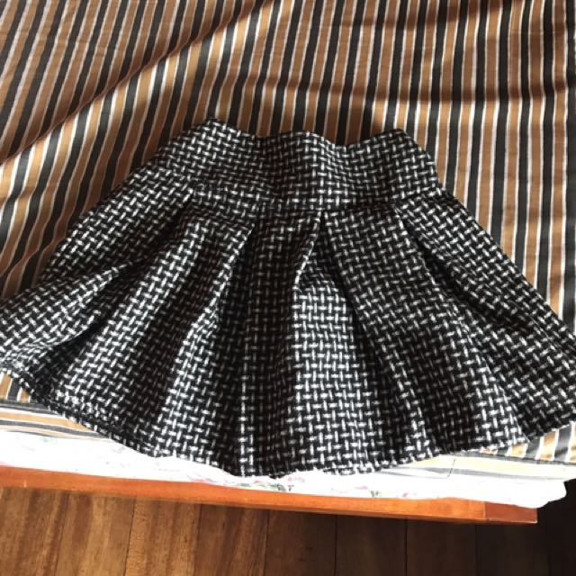 Pleated Black And White Mini Skirt