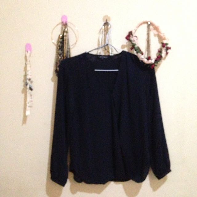 (PRELOVED) The Executive Navy Long Sleeve Blouse