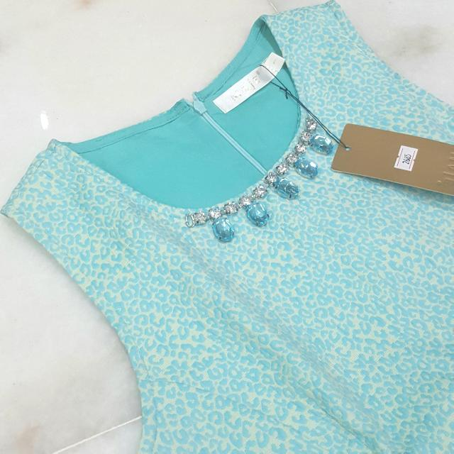 Premium Maje Tosca Light Blue Peplum Embellished Top