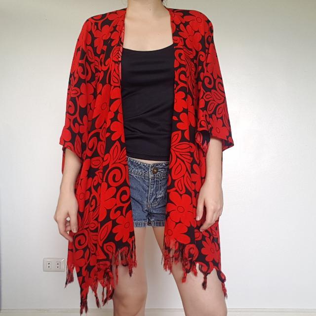 Red & Black Floral Kimono