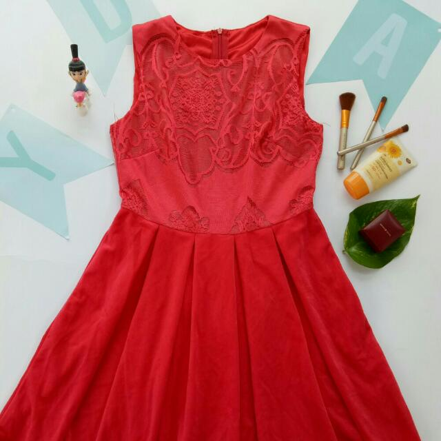 Red lace and velvet elegent  Dress