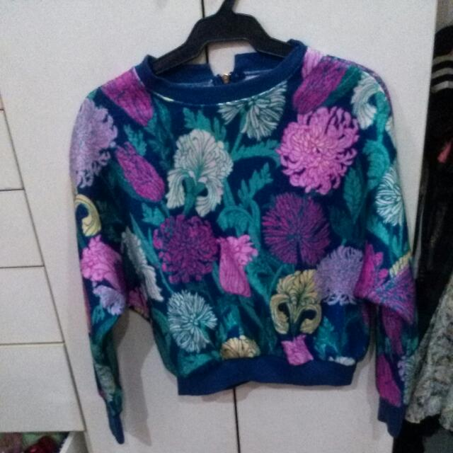 Semi Over Sized Sweater Jacket Floral