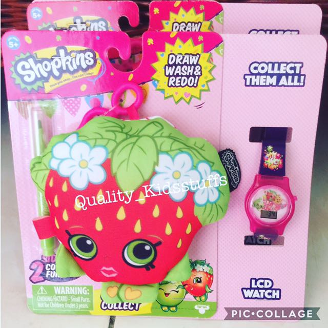 Shopkins Draw Wash And Redo Plushie Plus Lcd Watch