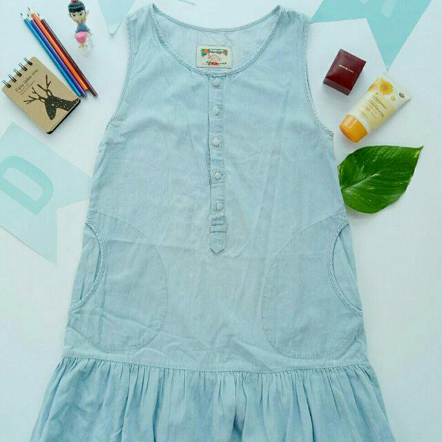 Sleeveless Drop-waist Denim Dress