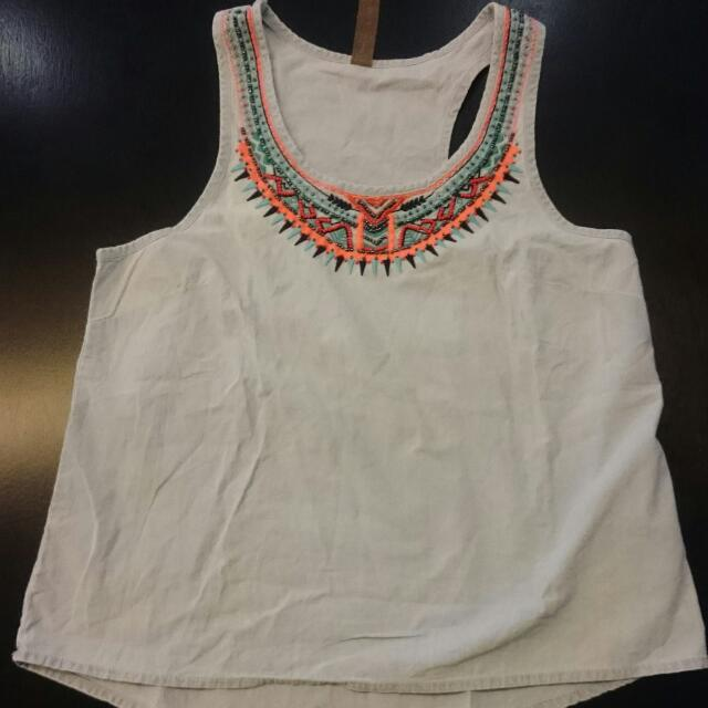 Sleeveless Top With Beaded Details