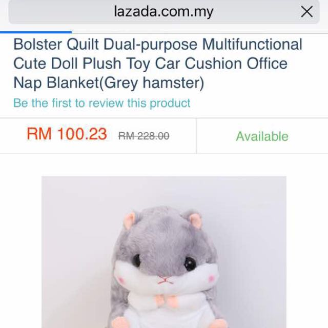 Stock Ready❤️Cute Hamster Pillow + blanket