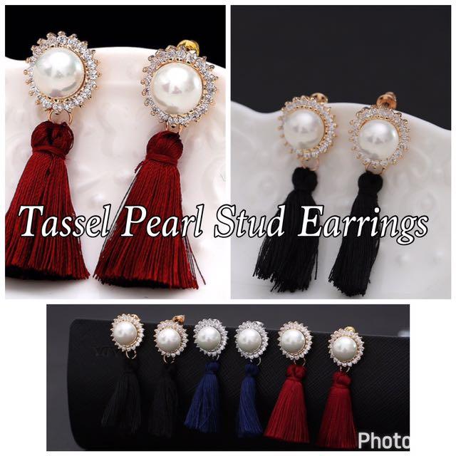 Tassel Pearl Stud Earrings