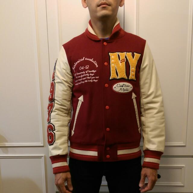 #棒球外套#Varsity Jacket#美式#復古#牛皮#合身#大學外套#purple&yellow