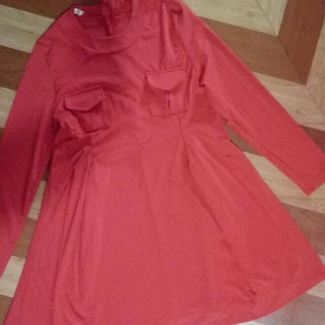Vintage Dress (Red Orange)
