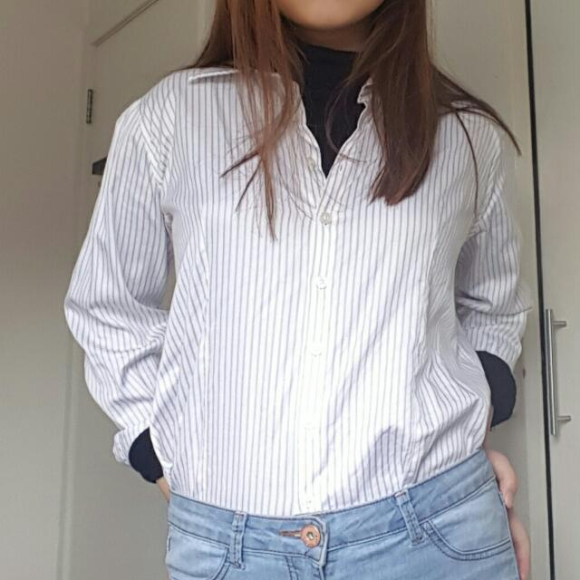 White And Grey Striped Blouse