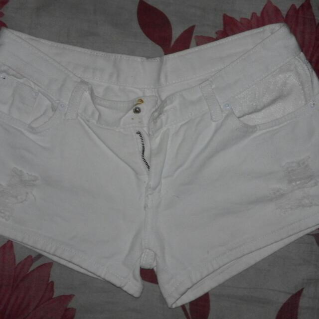 White Tattered Shorts
