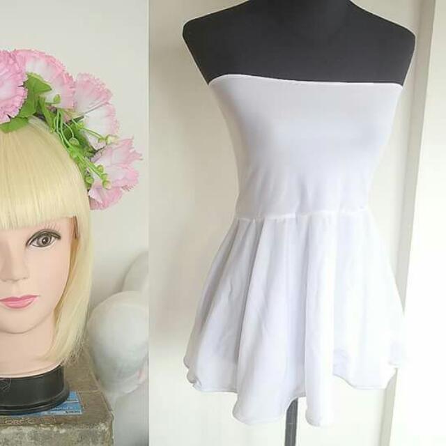 White Tube Top with Flower Headdress